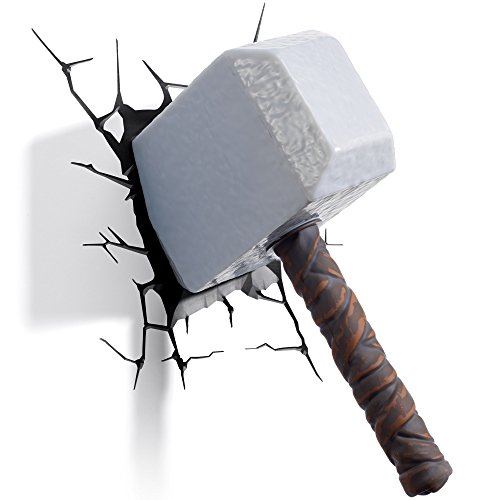 3D Light FX 816733002170 Marvel Thor Hammer 3D Wall Light, Plastique, Grey