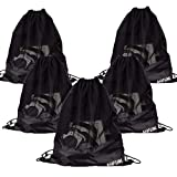 Whaline 5 Pack Drawstring Backpack, Black Mesh Bags Sports Nylon Cinch Sack Multi Functional Mesh Equipment Bag for Swimming, Beach, Diving, Travel, Gym, Camping, Training (18'' x 15'')