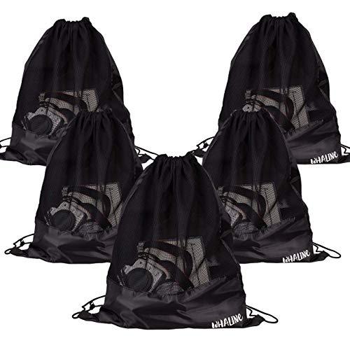 Whaline 5 Pack Drawstring Backpack, Black Mesh Bags Sports Nylon Cinch Sack Multi Functional Mesh...