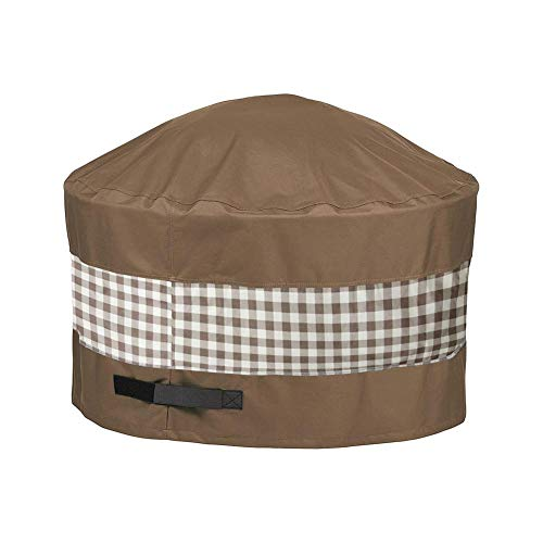 HAILAN Patio Fire Pit Table Cover Round 36 Inch Outdoor Waterproof Fire Bowl for Landmann Big Sky Fire Pit Stone Fire Pit Covers Dust Cover with Drawstring and Storage Bag- Brown 44Dx24Hinch