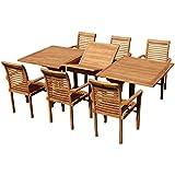 ASS Tobago JAV - Conjunto de muebles de jardín (mesa extensible de 180-240 cm x 100 cm, con 6 sillones alpinos)
