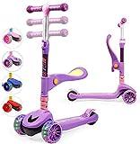 TX Kinderroller Scooter,Kinder Roller mit Abnehmbarem Sitz und PU LED große Leuchtenden Räder, 3...