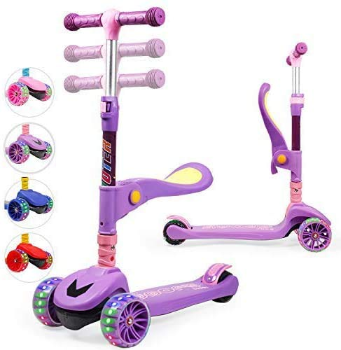 TX Kinderroller Scooter,Kinder Roller mit Abnehmbarem Sitz und PU LED große Leuchtenden Räder, 3 Höhenverstellbarer und Falten Lenker Kinderscooter für Kinder ab 2-10 Jahre-Lila
