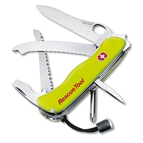 Victorinox Canivete de bolso Swiss Army Rescue Tool com bolsa, amarelo fluorescente, 111 mm