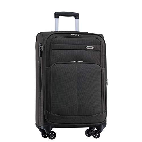 BEIBYE 4 Rollen Reisekoffer 3tlg.Stoffkoffer Handgepäck Kindergepäck Gepäck Koffer Trolley Set-XL-L-M (Coffee, M-Handgepäck-54cm)