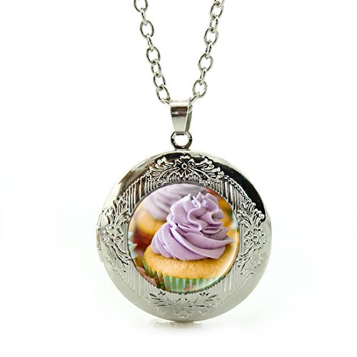 Women's Custom Locket Closure Pendant Necklace Ice Pastry Cupcake Included Free Silver Chain, Best Gift Set