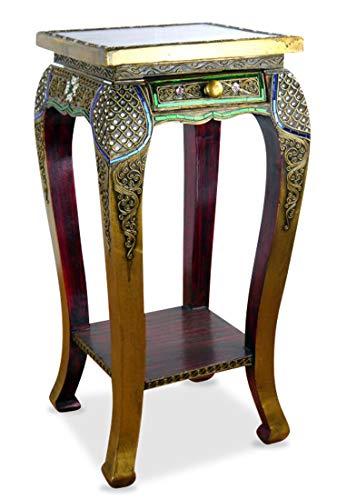 livasia Opiumtisch, extrahoch mit Schublade, Holztisch mit eleganter Glasmosaikverzierung, Konsolentisch, Beistelltisch