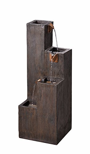 Kenroy Home 51017WDG Indoor/Outdoor Floor Fountain, 34 Inch Height, 12.25 Inch Width, 12.25 Inch Ext, Wood Grain