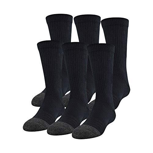 Under Armour Unisex Performance Tech Crew Socken, 6 Paar Socken, Unisex, Socken, U678, Schwarz , Shoe Size: 0-4