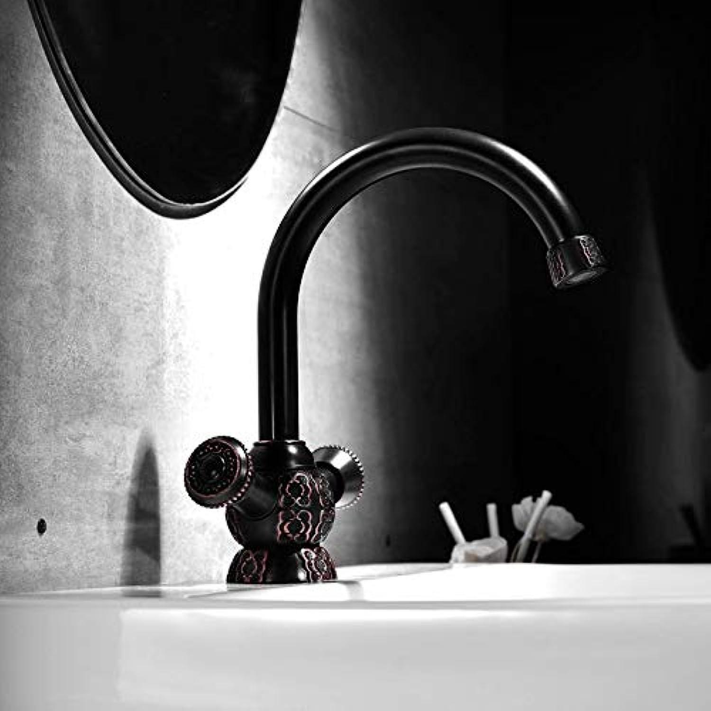 Decorry New Arrival Black Faucet Vintage Style Bathroom Basin Sink Faucet Antique Brass Mixertap Dual Handles Deck Mounted Basin Faucet
