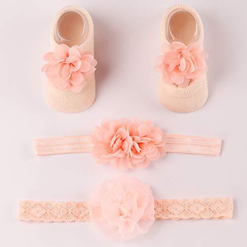 Seatecks 4 in1 Baby Stirnband und Socken Set Taufe schöne Blumen dekoriert Socken mit elastischem Haarband Kopfschmuck Baby Geschenk Set Party Geburtstagsfoto für Neugeborene 0-12 Monate