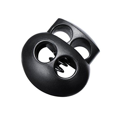 Pangda 20 Stück Federzug Schlösser für Kordelzüge, Schwarzer Kunststoff Doppel Loch Kordel Ende Verschluss Oval Kippstopper Schieber