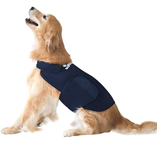 Eagloo Beruhigungsweste für Hunde Hundemantel zur Angstbekämpfung Panikgeschirr Angst Geschirr Hund Dog Anxiety Shirt Dunkelblau Upgrade M