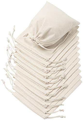 Sacs avec cordon de serrage 100 % mousseline de coton, lot de 12 pour le rangement, cadeaux, Coton, blanc, 6 x 8 inch - 12 pack