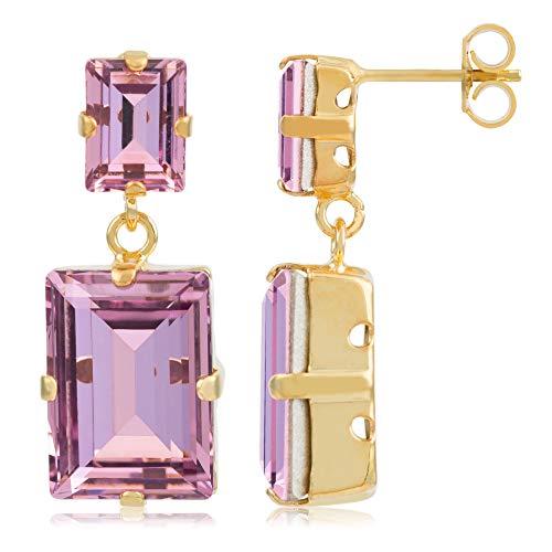 Córdoba Jewels   Pendientes en plata de ley 925 bañada en oro con cristales by Swarovski con diseño Square Lux Lila Swarovski Gold