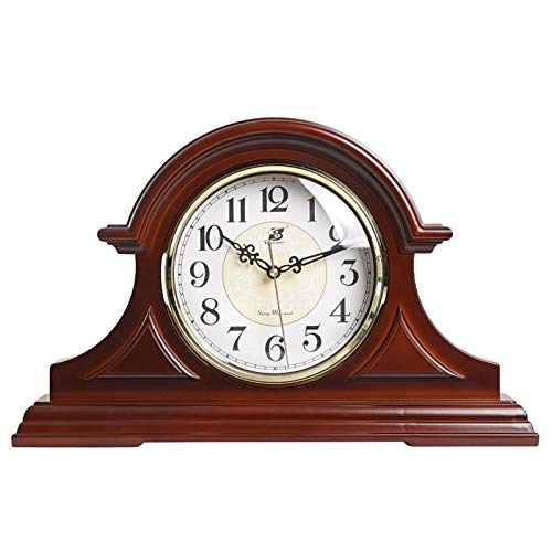 Vintage Farmhouse Table Clock Mantel Clock with Real Wood, Antique Vintage Design, Decorative Clock, Battery Operated