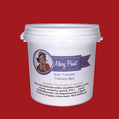 Mary Paint   Pintura para muebles efecto Chalk Paint, Rojo Toscana - 750ml