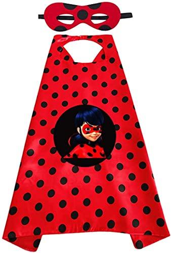 Funmo Capa de Ladybug para Niños, Disfraz Carnaval Ladybug Juguetes Regalos Niña y Niño 3-10 Años, Capa y Máscaras, Disfraces Halloween Infantiles para Cosplay de Fiesta de Cumpleaños de Navidad