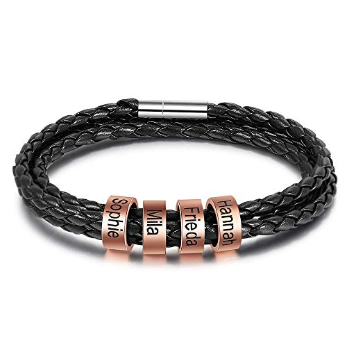 Personalisierte Armband mit 2 to 5 Namen Gravur Geflochtenes Lederarmband Damen BFF Freundschaft Armbänder Geschenk für Valentinstag Geburtstag (Roségold 4 namen, Edelstahl)