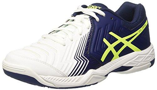 Asics Herren Gel-Game 6 Tennisschuhe, Elfenbein (White / Indigo Blue / Safety Yellow), 46 EU
