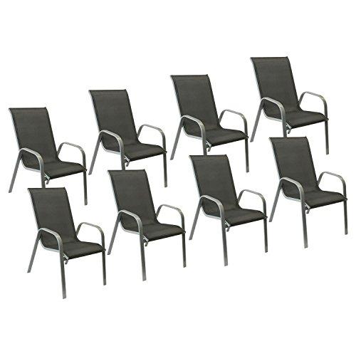Happy Garden Lot de 8 chaises Marbella en textilène Gris - Aluminium Gris