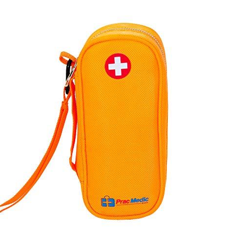 PracMedic EPIPEN Carrying Case - Holds 2 Epi Pens or Auvi-Q, Asthma Inhaler, Anti-Histamine, Nasal Spray, Eye Drops, Medicine, Vials, Syringes, Ice Pack- Sold Empty (Orange)