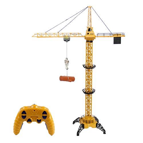 Grue - Juguete infantil con forma de grúa, 2,4 G, 1,28 m, RC de 6 canales, juguete de grúa de construcción para niños con luz y torre de control de rotación de 680 grados