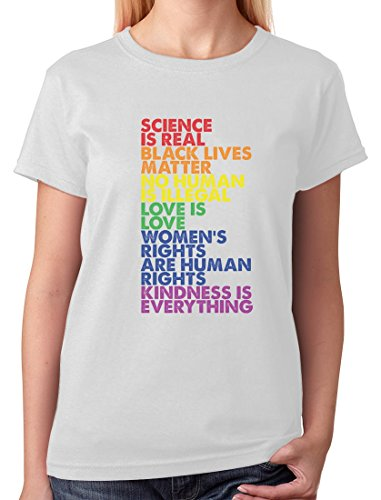 LGBT Tee Science is Real Black Lives Matter Love is Love Equality Women T-Shirt XX-Large White