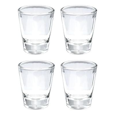 Thirsty Rhino Karan, Round 1.5 oz Shot Glass with Heavy Base, Clear Glass, Set of 4
