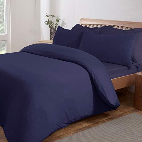 Sleepdown Jersey Melange - Juego de Funda de edredón y Fundas de Almohada, Color Azul Marino cálido y fácil de cuidar, 220 cm x 230 cm, polialgodón