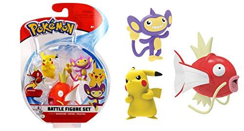 Lively Moments Pokémon Battle Pack Figuren Karpador, Griffel & Pikachu / 3 Sammelfiguren / Spielfiguren Erweiterung
