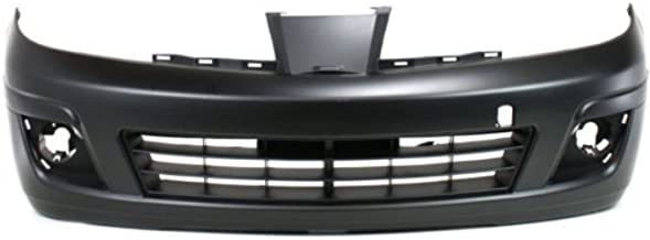 Front Bumper Cover Compatible with 2007-2012 Nissan Versa Primed with Fog Light Holes Hatchback/Sedan