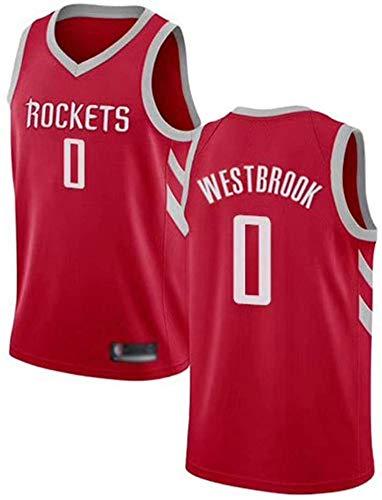 GLACX NBA Men's Jerseys, (5 Estilo) Houston Rockets 0# Westbrook Classic Basketball Ropa, Tela Fresca de la Tela Transpirable Camisetas Deportivas, Fan Unisex Swingman Jerseys,E,XL