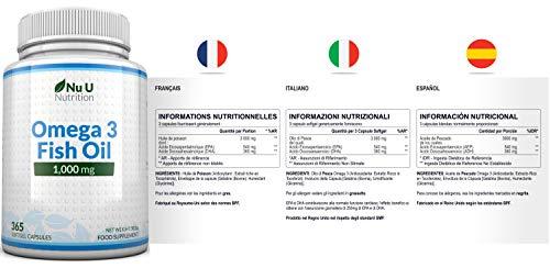 Omega 3 Fischöl 1000 mg von Nu U, 365 Kapseln (Versorgung für 12 Monate) – 100% GELD-ZURÜCK-GARANTIE – Maximale Stärke und Aufnahmefähigkeit – Hergestellt in Großbritannien - 4