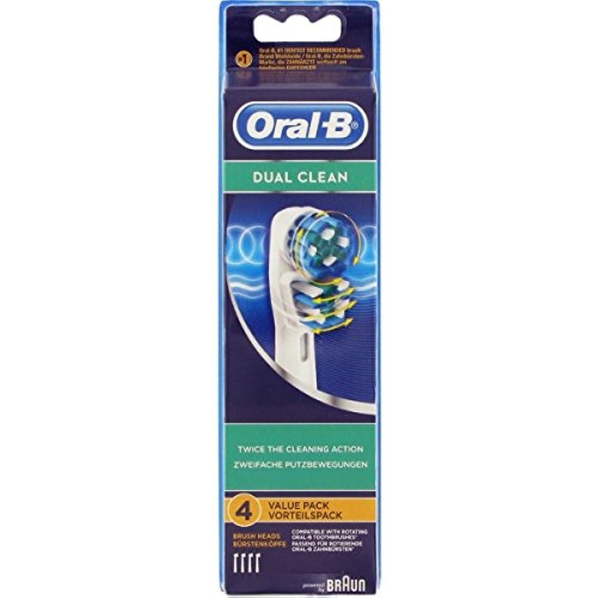 指紋崇拝するフェンスBraun Oral-B EB417-4 DUAL CLEAN Replacement Brush Heads EB417 1 Pack [並行輸入品]