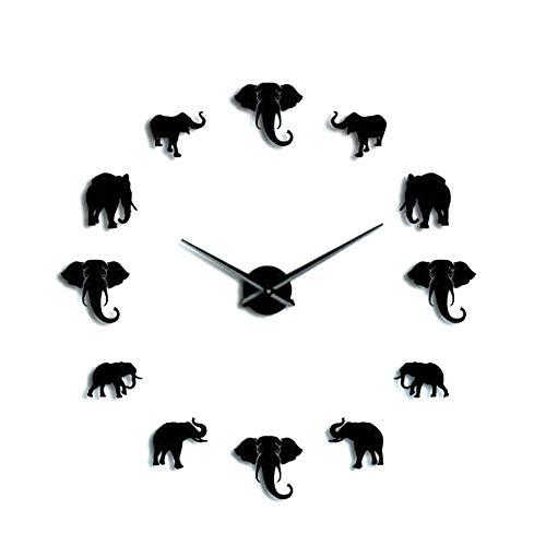 Fdit1 Orologio da Parete a Forma di Animale Unico Moda Orologio da Parete con Specchio Acrilico Fai da Te Elefante per Soggiorno Camera da Letto Domestica