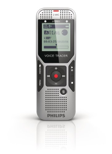 Philips DVT 1700 Digitaler Rekorder mit 2 Mikrofon-Stereoaufnahme, silbergrau