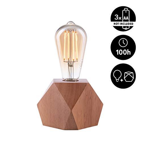CROWN LED Tischlampe Vintage Batteriebetrieben - Design Tischleuchte aus Holz E27 Fassung inkl. Retro Edison LED Glühbirne EL10