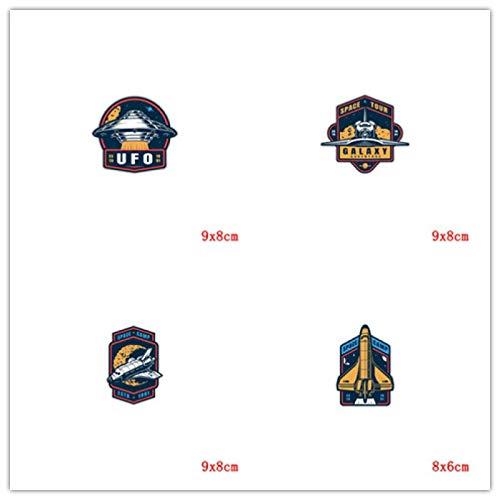 Parche de transferencia térmica,Adecuada para camisetas y jeans y abrigos y sombreros, serie de cohetes redondos de dibujos animados de 4 piezas