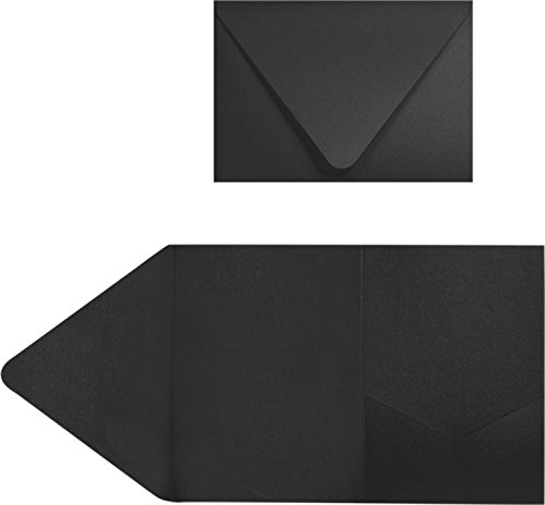 5x7 A7 Pocket Invitations - Midnight Black Envelopes - Pack of 20