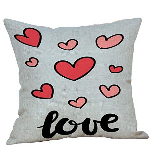 Mamum - Joyeux Housse de Coussin Saint Valentin Taie d'oreiller Amoureux, Housse de Coussin carrée Sweet Valentine's Day Taie d'oreiller Couple (C)