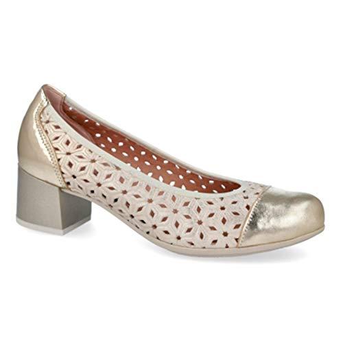PITILLOS Schuh Leder Absatz 4 cm und herausnehmbare Einlegesohle, Gold - Gold - Größe: 36 EU