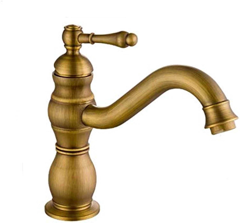 S-L Wasserhahn Alle Kupfer Europischen Stil Becken Wasserhahn Retro Drehbar Warmes und Kaltes Wasser (Farbe  A), Kupfer, a