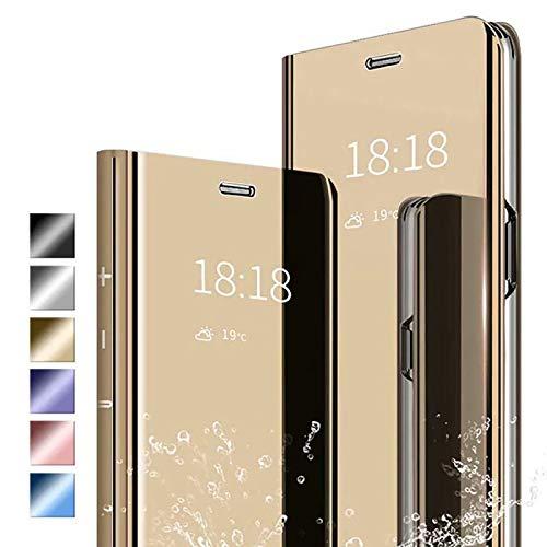 ANWEN Hülle für Samsung Galaxy S20 Fan Edition Handyhüllen,Flip Handy Hülle Cover PU+PC Schutzhülle Transluzent View Spiegel Anti-Schock Hülle mit Standfunktion für Samsung Galaxy S20 Fan Edition-Gold