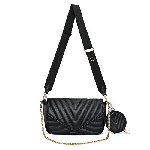 Small Quilted Crossbody Bags for Women Purses and Handbags with Coin Purse (Black)
