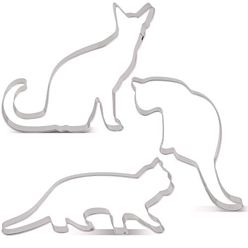 LILIAO Cat Cookie Cutter Set for Kids - 3 Piece - Walking Cat, Sitting Cat and Curled Cat Biscuit Fondant Cutters - Stainless Steel