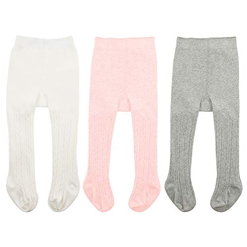 Zando Baby Girls Tights Soft Cable Knit Cotton Leggings For Baby Big Girls Toddler Seamless Socks Infant Pants Stockings White & Ballet Pink & Light Grey S/0-6 Month