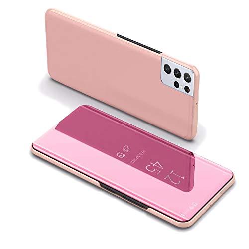 LCHDA Funda de espejo para Samsung Galaxy S21 Ultra de 6,8 pulgadas, funda de piel con tapa inteligente con ventana translúcida, carcasa rígida de policarbonato, función atril, color oro rosa