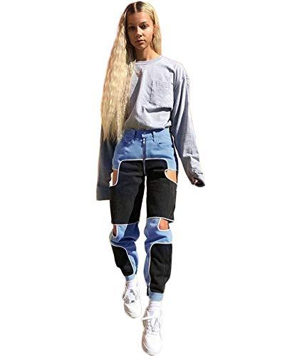 She Charm Femmes Hip Hop Cargo Pants Pantalon Taille Haute Couleur Contrastée Creux Zip Pantalons Simple,Blue Black,M