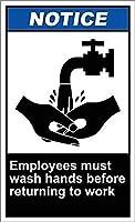 安全警告金属マーク-従業員は手を洗う必要があります通知アルミニウム金属看板ティンサイン